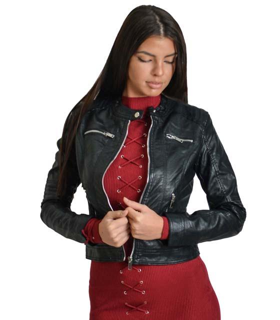 Μαύρο Jacket δερματίνη με ασημί φερμουάρ και κούμπωμα