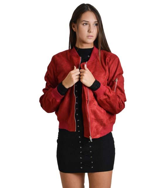 Μπορντό jacket σουέτ με τσέπες και φερμουάρ
