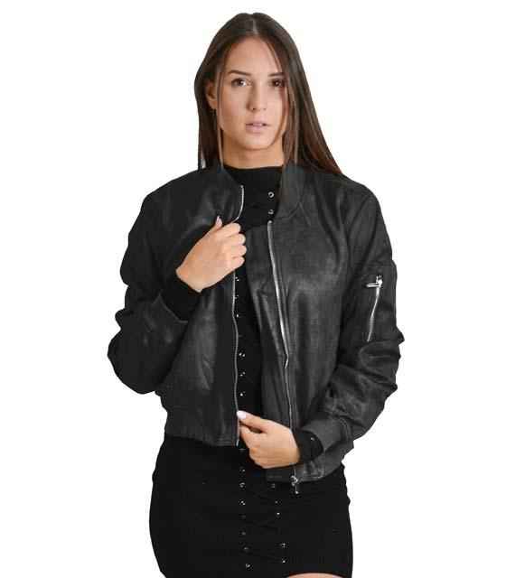 Μαύρο jacket σουέτ με τσέπες και φερμουάρ