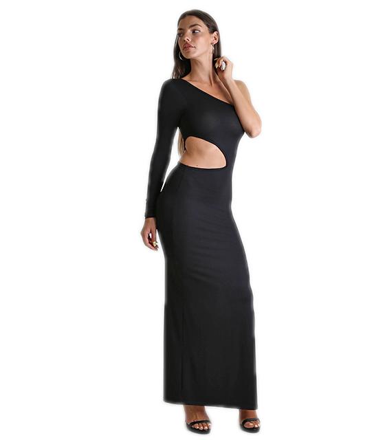 Φόρεμα μαύρο μακρύ με ενα μανίκι ρούχα   φορέματα