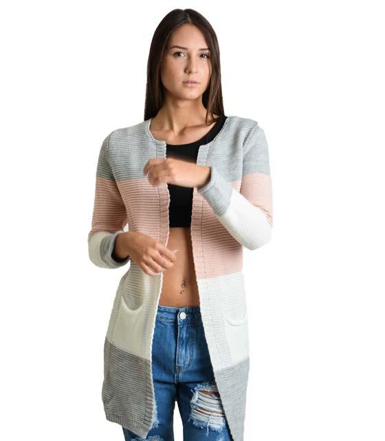 Πολύχρωμη ζακέτα πλεκτή με τσέπες (Γκρι-Ροζ-Λευκό)