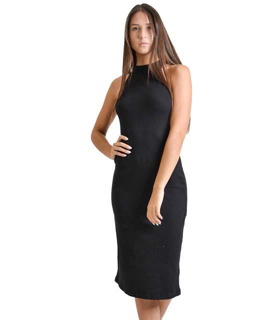 Πλεκτό φόρεμα ριπ μακρύ (Μαύρο)