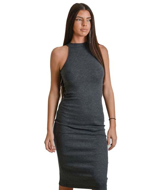 Πλεκτό φόρεμα ριπ μακρύ (Γκρι)