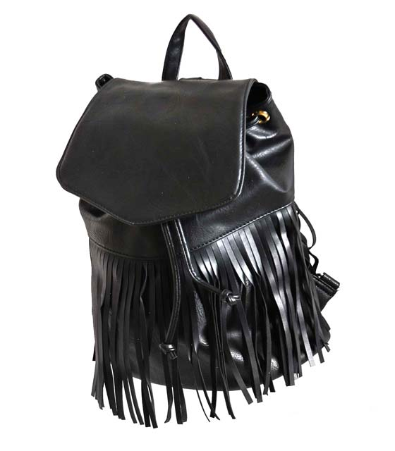 Μαύρη τσάντα πλάτης με κρόσια