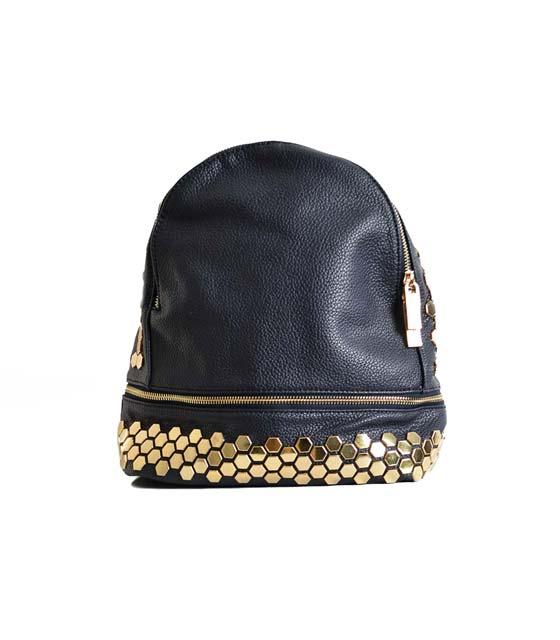 Τσάντα πλάτης με χρυσές λεπτομέρειες (Μαύρη)