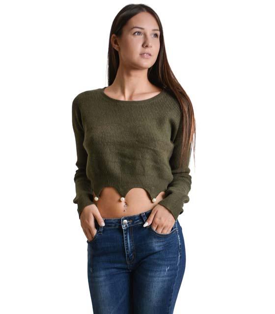 Πλεκτή μπλούζα με ασύμμετρο τελείωμα και πέρλες (Χακί)