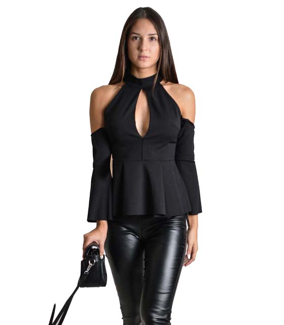 Μαύρη μπλούζα με φραμπαλά και ανοίγματα