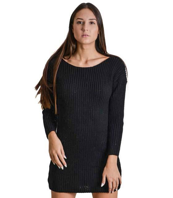 Φόρεμα πλεκτό με δέσιμο στην πλάτη (Μαύρο)
