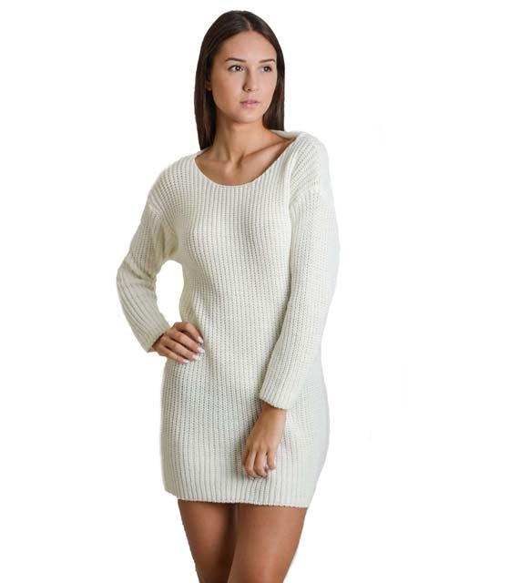 Φόρεμα πλεκτό με δέσιμο στην πλάτη (Λευκό)
