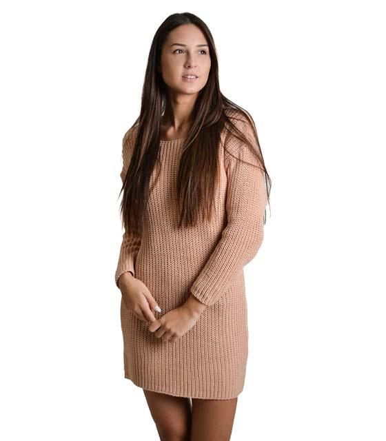 Φόρεμα πλεκτό με δέσιμο στην πλάτη (Ροζ)