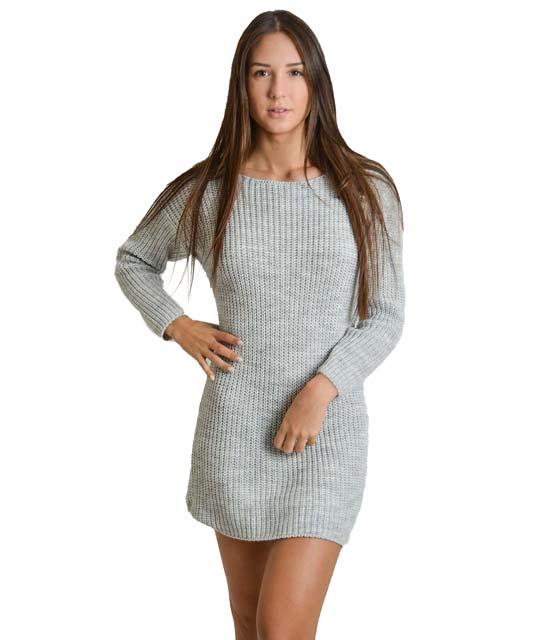 Φόρεμα πλεκτό με δέσιμο στην πλάτη (Γκρι)