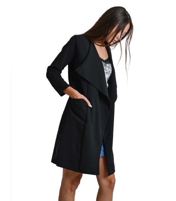 Μακρύ σακάκι με τσέπες (Μαύρο)