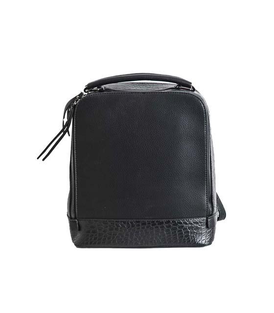 Τσάντα πλάτης με φιδίσιο σχέδιο (Μαύρη)