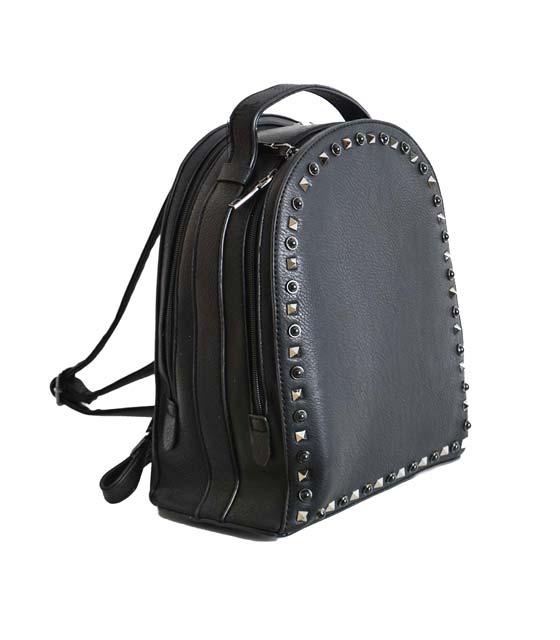 Μαύρη τσάντα πλάτης με διπλό φερμουάρ και τρουκς
