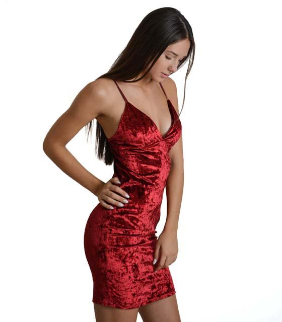 Φόρεμα από βελούδο με τιράντες (Μπορντό)