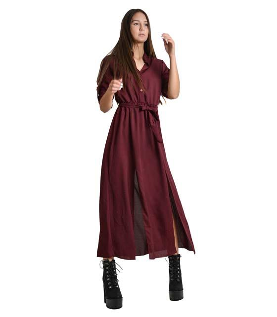 Μάξι φόρεμα με κουμπιά,ζώνη και πατ μανικιών (Μόβ)