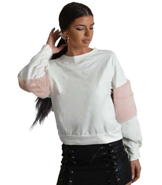 Mπλούζα φούτερ με γούνινη λεπτομέρεια στο μανίκι (Λευκό)