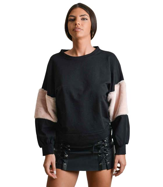 Mπλούζα φούτερ με γούνινη λεπτομέρεια στο μανίκι (Μαύρο)