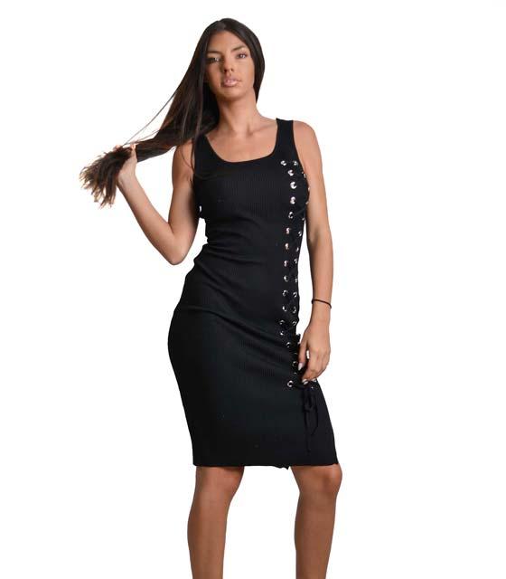 Μαύρο μίντι φόρεμα ριπ πλεκτό με κορδόνια χιαστή ρούχα   φορέματα