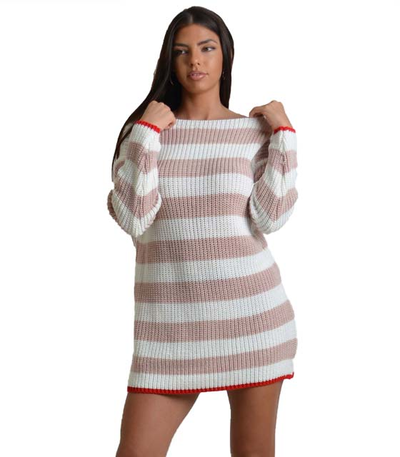 Πλεκτό φόρεμα ριγέ με φιόγκο και κόκκινη λεπτομέρεια (Λευκό)