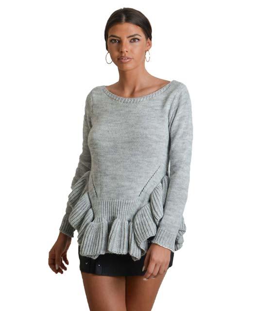Πλεκτό μπλουζοφόρεμα με φραμπαλά (Γκρι)