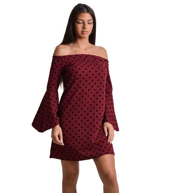 Μπορντό φόρεμα πουά με βολάν στο μανίκι