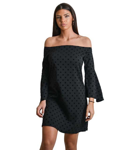 Μαύρο φόρεμα πουά με βολάν στο μανίκι