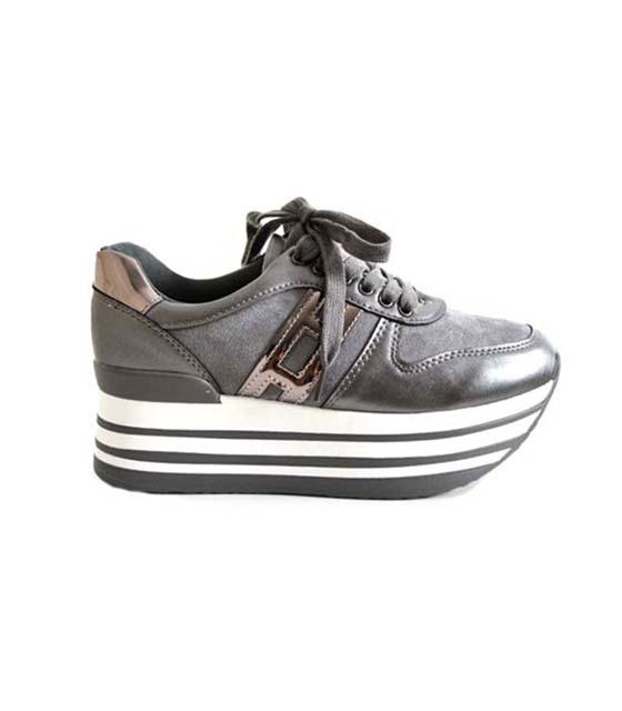 Γκρι τρίπατο sneaker με ασημί λεπτομέρειες