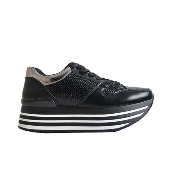 Μαύρο τρίπατο sneaker με κρόκο λεπτομέρεια