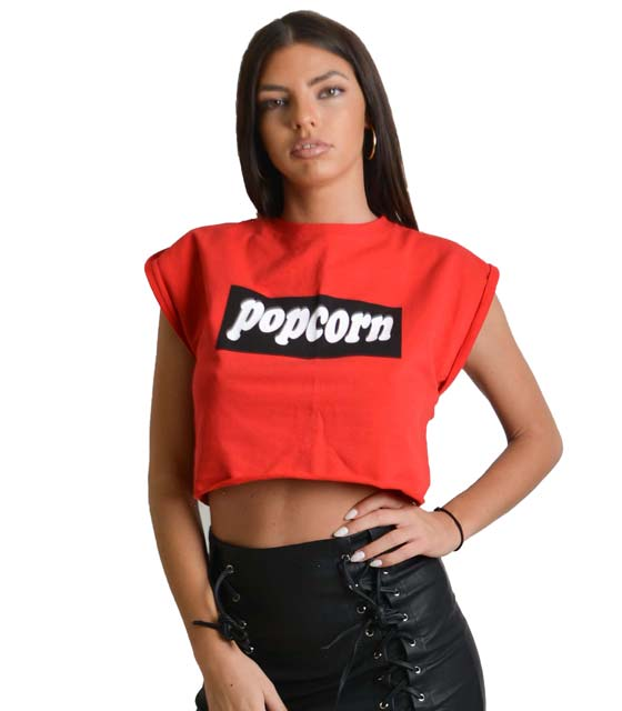 Κόκκινο τοπ με τύπωμα ''POPCORN''