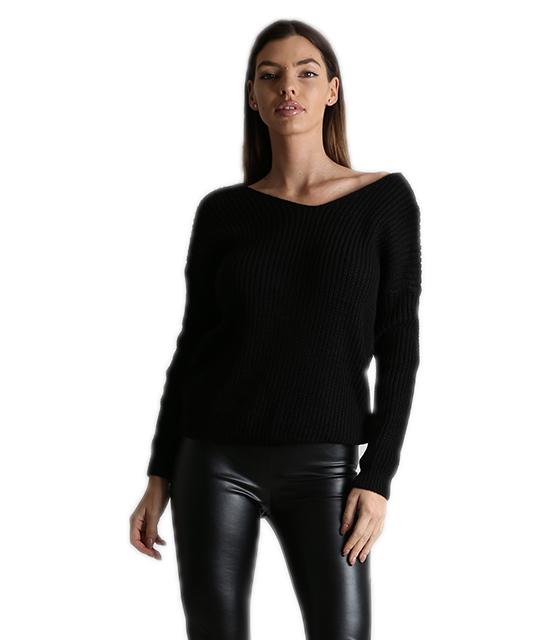 Πλεκτή μπλούζα με σχέδιο στην πλάτη (Μαύρο)