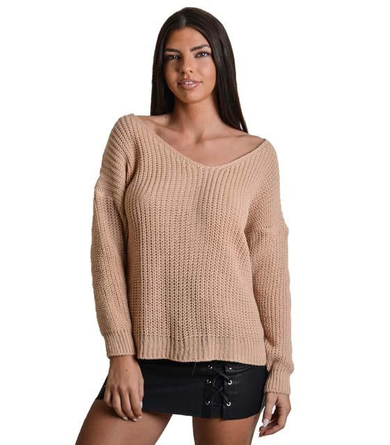 Πλεκτή μπλούζα με σχέδιο στην πλάτη (Ροζ)