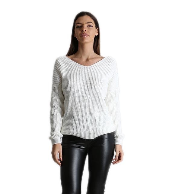 Πλεκτή μπλούζα με σχέδιο στην πλάτη (Λευκό)