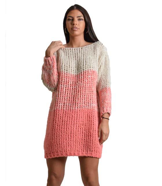 Πλεκτό φόρεμα ριγέ (Φουξ)
