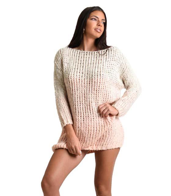 Πλεκτό φόρεμα ριγέ (Ροζ)