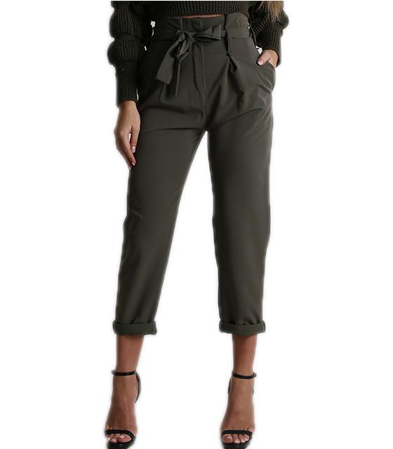 Ψηλόμεσο παντελόνι με ζώνη (Χακί)