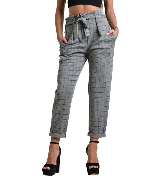 Ψηλόμεσο παντελόνι με ζώνη καρό (Γκρι)