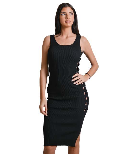 Μαύρο μίντι φόρεμα ριπ πλεκτό με κορδόνια χιαστή στο πλάι