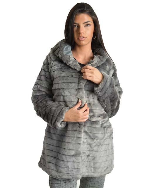 Γκρί γούνα με κουκούλα ρούχα   πανωφόρια   γούνες   γουνάκια