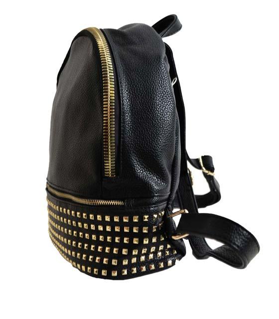 Τσάντα πλάτης με χρυσά τρουκς και φερμουάρ (Μαύρη)