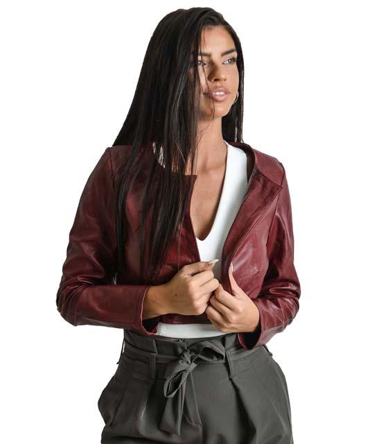 Κοντό jacket δερματίνη μπορντό