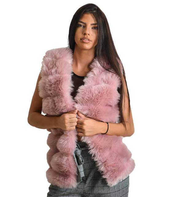 Ροζ αμάνικη γούνα