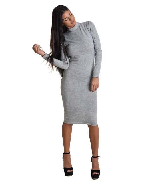 Midi πλεκτό φόρεμα ζιβάγκο (Γκρι)