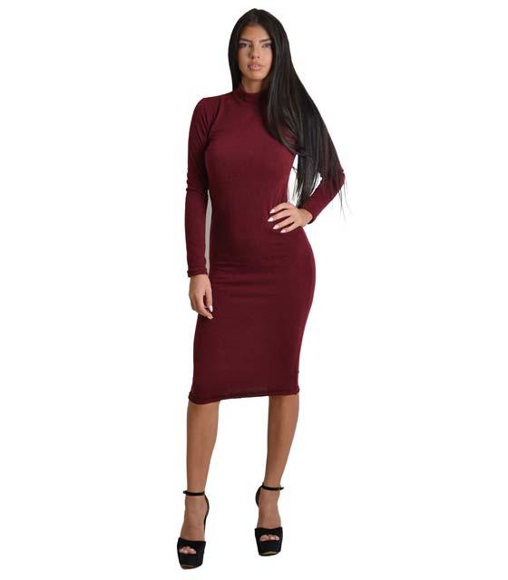 Midi πλεκτό φόρεμα ζιβάγκο (Σκούρο Κόκκινο)