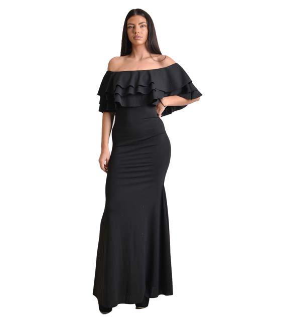 Μάξι φόρεμα bardot με βολάν (Μαύρο) ρούχα   φορέματα