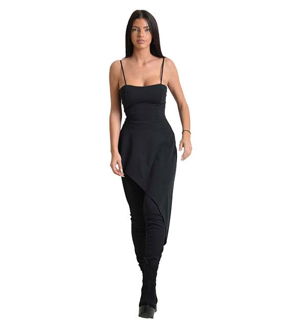 Ολόσωμη φόρμα στράπλες με ουρά στο πλάι (Μαύρο)