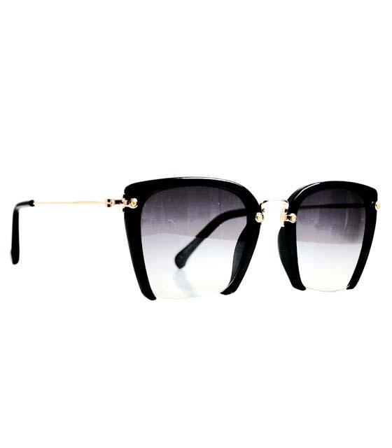 Γυαλιά ηλίου με συρμάτινη λεπτομέρεια vintage (Μαύρα)