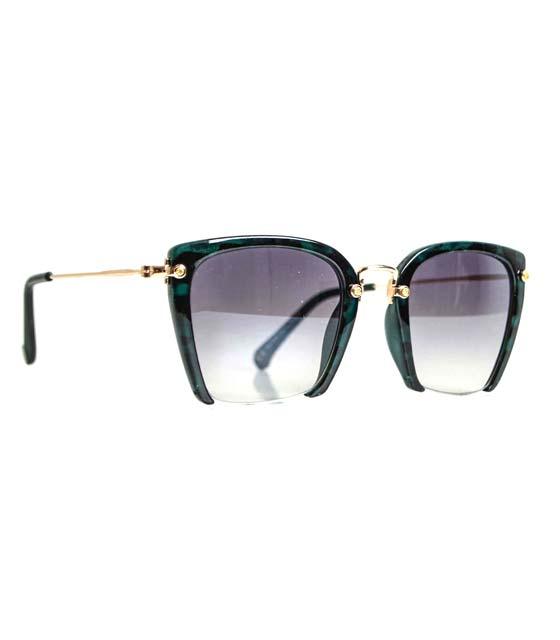 Γυαλιά ηλίου με συρμάτινη λεπτομέρεια vintage (ταρταρούγα-πράσινο)