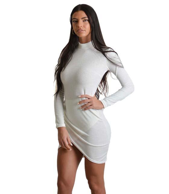 Ασύμμετρο εφαρμοστό φόρεμα ζιβάγκο (Λευκό)
