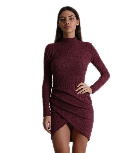 Ασύμμετρο εφαρμοστό φόρεμα ζιβάγκο (Μπορντό)